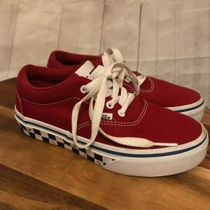Vans Red and White Checkered Kids Shoes
